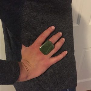 Jewelry - Large Jade and copper ring, size 8/9